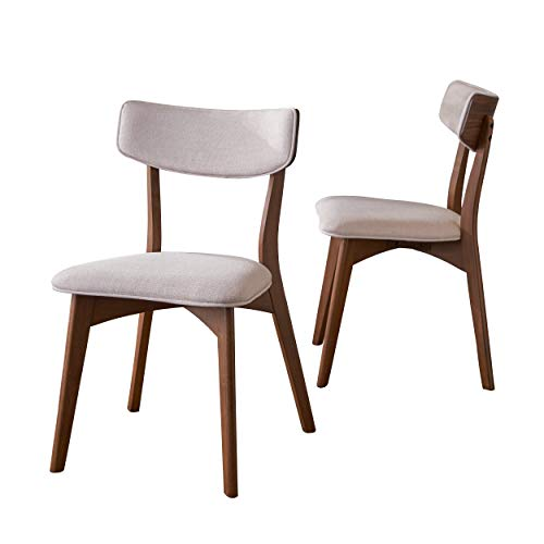 Christopher Knight Home 303368 Molly Mid Century Modern Light Beige Dining Chairs with Natural Walnut Finished Rubberwood Frame (Set of 2), ()