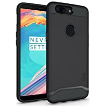 OnePlus 5T Case, TUDIA Slim-Fit HEAVY DUTY [MERGE] EXTREME Protection / Rugged but Slim Dual Layer Case for OnePlus 5T (2017 Version) (Matte Black)