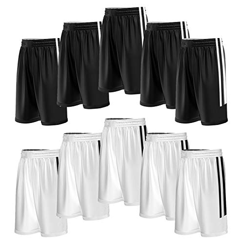 3fc45dfe24f Liberty Imports 10 Pack - Reversible Men s Mesh Athletic Team Basketball  Jerseys Sports Bulk (Shorts BLK WHT)