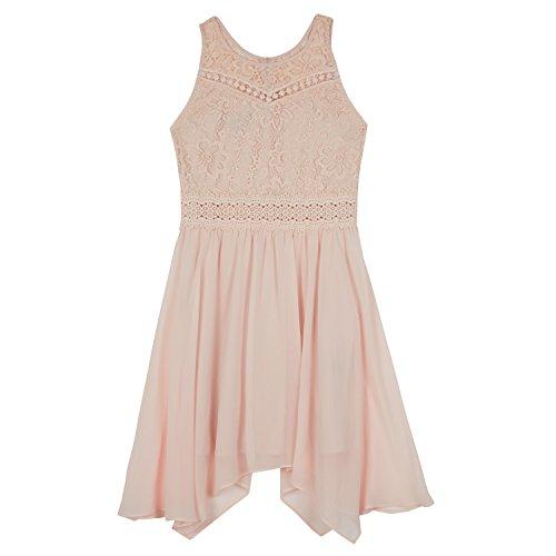 Amy Byer Big Girls' High-Neck Dress with Hanky Hem, Desert Blush, (Girls Blush)