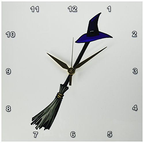3dRose dpp_178360_1 Grey Broom Blue Witches Hat Design-Wall Clock, 10 by 10-Inch