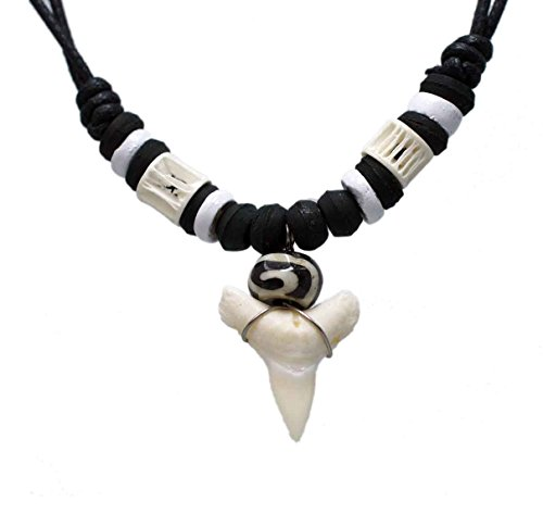 - Exoticdream Real Shark Tooth Necklace Rasta Jamaican Surfer Hawaiian Beach Boys Girls Men - Color White Bone (white II)