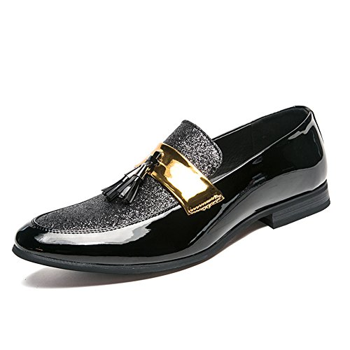SYH Men's Black Slip-on Wedding Shoes Metallic Smoking Slippers Penny Loafers 8.5in by SYH
