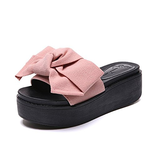 slippers Flat Sandals Summer Bow Women'S Casual Fashion Wild women Bottom Word Slope With A Thick Pink Bottom Shoes rwqSOKXrxH
