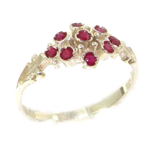 925 Sterling Silver Natural Ruby Womens Cluster Ring - Size 5.75 (Ruby Cluster Ring)