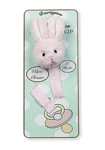 Bunny Pacifier - Bearington Baby Cottontail Plush Pink Bunny Rabbit Pacifier Holder with Satin Leash and Clip