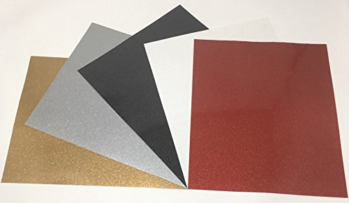 (5 PACK) 12x10 Ultra Glitter Permanent Adhesive Vinyl Sheets Collection Sampler Starter Bundle Assorted Colors Gold Silver Black White Red Vinyl for Cricut Maker expression Explore Silhouette Cameo