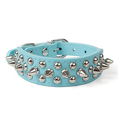 Avenpets Gorgeous Design Leather Dog Collar with Spikes and Studs for Daily Activities,Blue,M:(neck 13-15