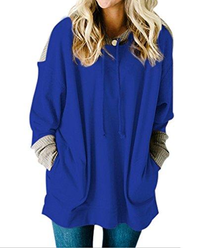 OUFour a Bluse Cime Felpe Sweatshirt e Blu Lunghezza Maglione Cappuccio con Hoodies Tops Manica Autunno Patchwork Donne Lunga Media Primavera Moda Pullover vYPrHnv