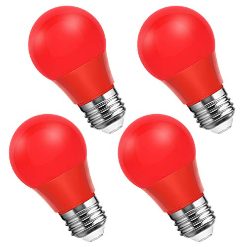Smartinliving Red Light Bulbs, 25W Equivalent A15 Red Led Bulb, E26 Medium Base, 4W Color Light Bulb for Party Decoration, Not Dimmable, 4 Pack