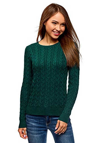 Cable Knit Pullover - oodji Collection Women's Textured Cable Knit Pullover, Green, US 6 / EU 40 / M