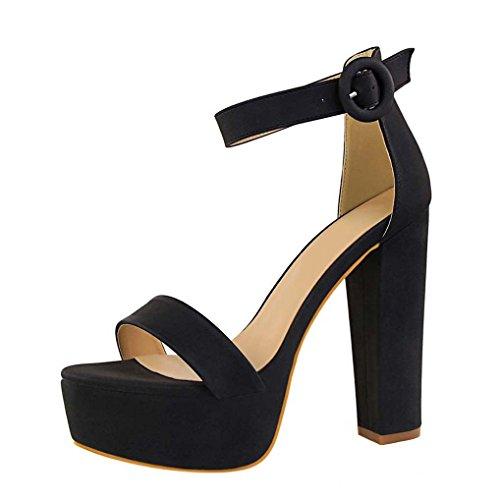 Femme Plateforme Sandales Bloc Soirée Cheville classique OALEEN Bride Noir Chaussures Talon Ouverte Haut EFwWCvq