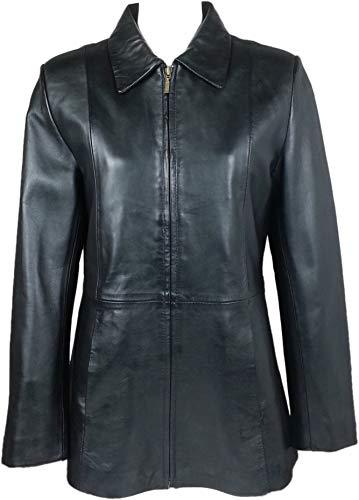 (Unicorn Womens Classic Mid-Length Coat - Real Leather Jacket - Black Nappa #HI (10))