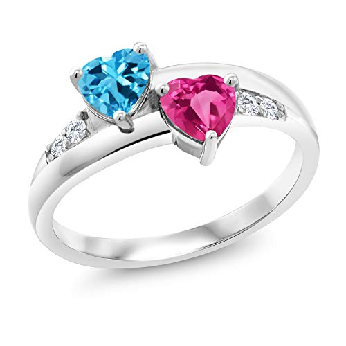 (Gem Stone King 1.24 Ct Swiss Blue Topaz Pink Created Sapphire 925 Sterling Silver Lab Grown Diamond Ring (Size 5))