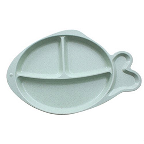 mk. park - Fish Silicone Placemat Baby Table Food Dish Tray Plate Bowl Kids Non Slip Gifts (Green)