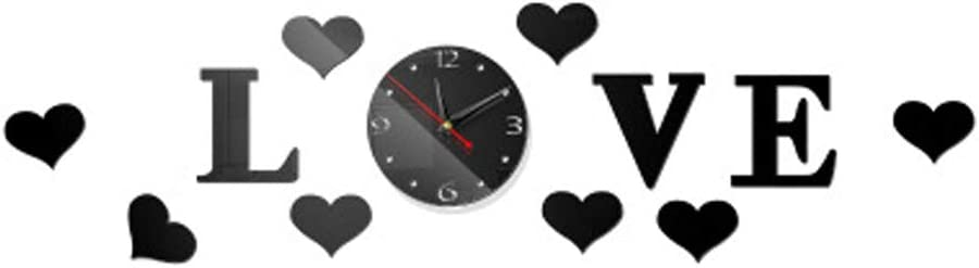 HOYOYO 35inch Love Letter Heart Acrylic Clock, DIY Romantic Modern Acrylic Big Size Black Mirror Surface 3D Elegant Wall Stickers Decor Clocks Numbers Stickers for Home Office Decorations Gift