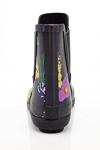 Henry Ferrera Womens Stivali Da Pioggia Alla Caviglia Con Disegno Elastico Nero Floreale