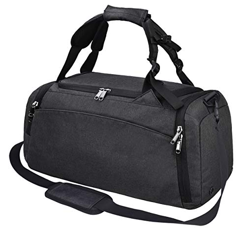 Gym Duffle Bag Waterproof Travel Weekender Bag for Men Women Duffel Bag Backpack with Shoes Compartment Overnight Bag 40L Black]()