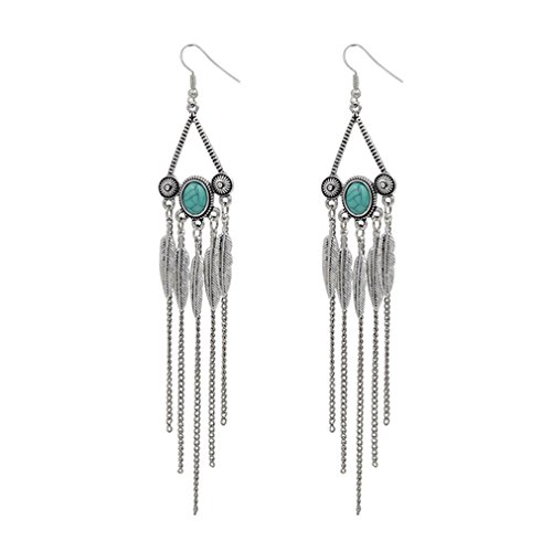 G&T American New Fashion Jewelry Turquoise Earrings Long Tassel Exaggerated Leaves Earrings(C1) - Back To The Future 2016 Costume