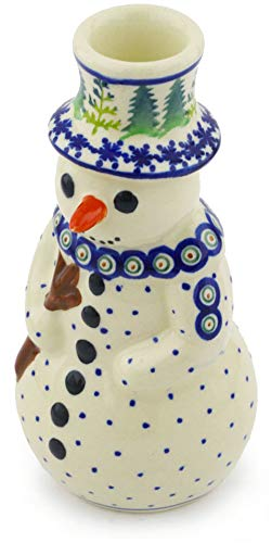 Polish Pottery Snowman - Polish Pottery 6½-inch Snowman Candle Holder (Winter Ferns Theme) + Certificate of Authenticity