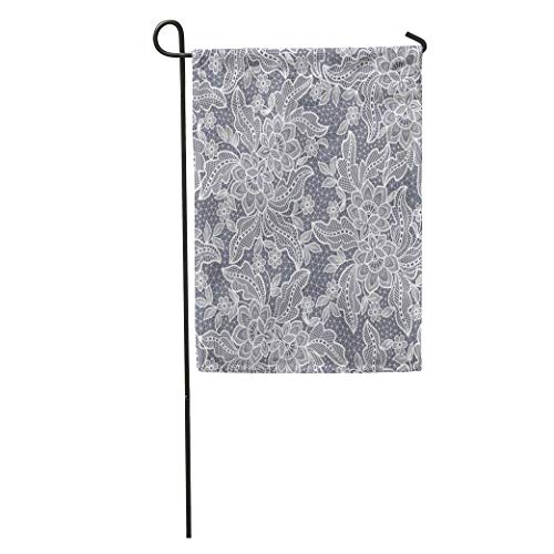 NgkagluxCap Garden Flag Pattern Lace Floral Crochet Flower White Antique Ribbon Doily Sewing Home Yard House Decor Barnner Outdoor Stand 12x18 Inches Flag ()