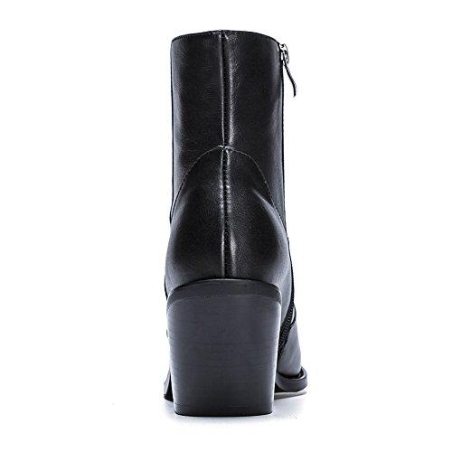 35 Black Invierno WSXY Antideslizante KJJDE Q1914 De Confort Botas Botas Mujer Innovador Botines o Moda Oto Puntiagudo RZaTz