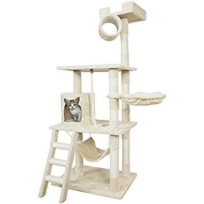 "PET PALACE 62"" Cat Tree Kitten Activity Tower Condo with Hammock, Deluxe Scratching Posts, and Rope, APL1354"