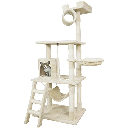PET PALACE 62' Cat Tree Kitten Activity Tower Condo with Hammock, Deluxe Scratching Posts, and Rope, APL1354