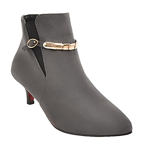 Mee Shoes Women's Fashion Kitten Heel Pointed Toe Ankle Boots Grey