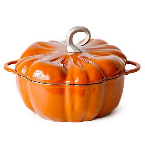 Casserole in Cast Iron Pumpkin shape 3.76L / 24cm Large Cocotte with Non-stick Enemal Coating Stew Pot, Versatile Saucepan with Lid