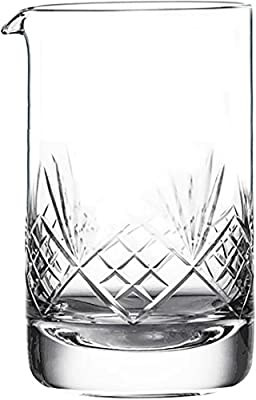 Crystal Cocktail Mixing Glass - Thick Weighted Bottom - 17oz (500ml) - Premium Seamless Design - Professional Quality - Great Gift Idea