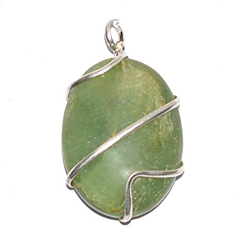 Reiki Crystal Products Green Jade Natural Stone Pendant Wire Wrapped Oval Pendant Semi Precious Stone Pendants for Unisex ()