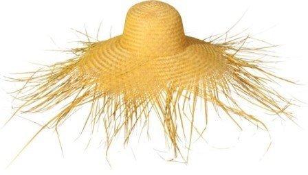 Hut: Strohhut mit Fransen, gold- oder naturfarben, Farbe:14 gelb