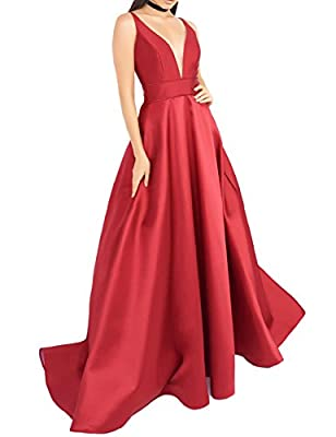 YSMei Women's Deep V-Neck Prom Dress With Pockets Long Evening Dresses YPM413