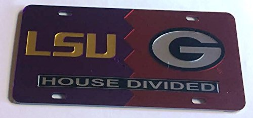 LSU Tigers - UGA Georgia Bulldogs - House Divided Mirrored Car Tag License Plate
