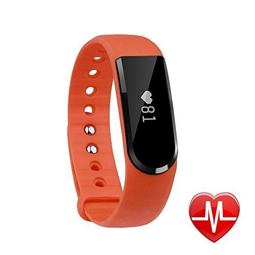 Smart Watch LETSCOM Fitness Activity Tracker with Heart Rate Monitor Bluetooth 4.0 and Waterproof Pedometer Bracelet with Call/MSM Reminder, OLED Touch Screen for Android and IOS, Orange