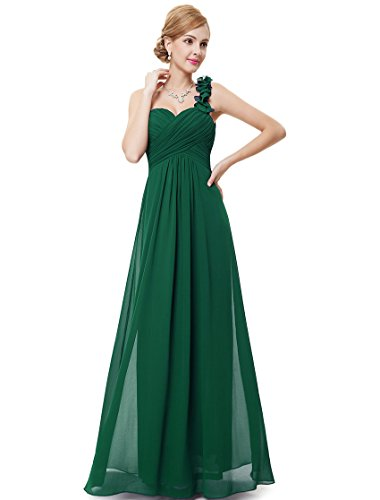 Ever-Pretty Womens Flower One Shoulder Long Bridesmaids Dress 4 US Green