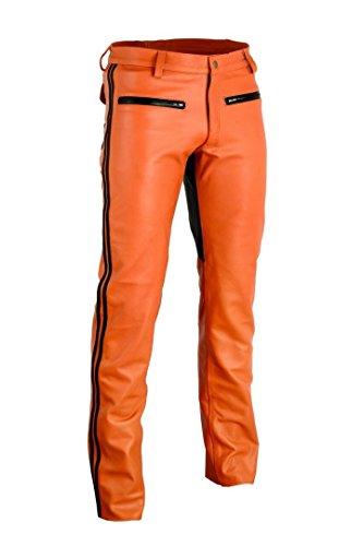 Leatherjeans Leather Orange Pant Plain Leather Real Leather Riding Breeches (40 inch / 100 cm) by Leatherjeans (Image #1)