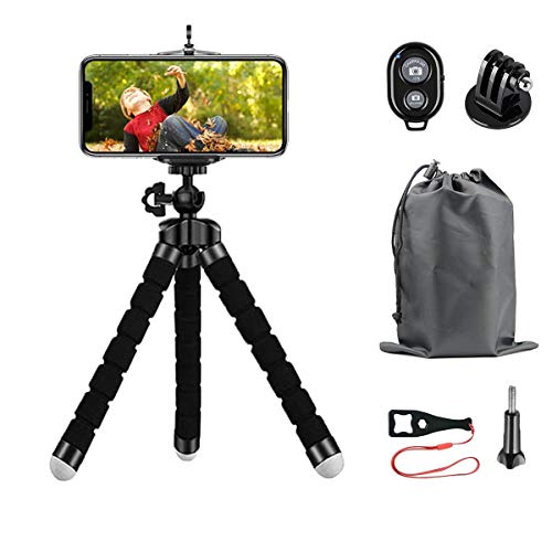 YeahWhee Phone Tripod, Portable and Adjustable Camera Stand Holder with Wireless Remote and Universal Clip, Compatible with iPhone, Android Phone, Camera, Sports Camera GoPro