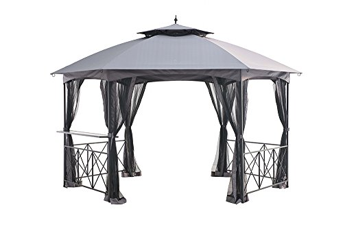 Sunjoy L-GZ076PST-1C 14.6' x 13' Genoa Hexagon Gazebo with Glass Bar Shelf - Tan, Large