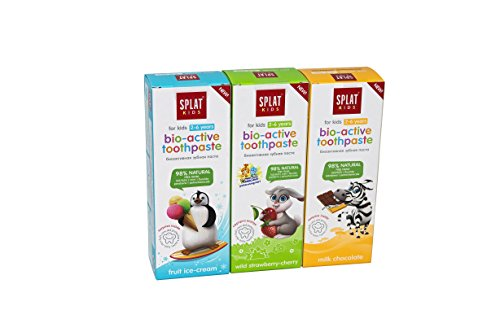 Natural Fluoride Free Kids (2-6) bio-Active Toothpaste Splat with Calcium, Licorice Extract and Enzyme Complex 50ml 3pcs in ()
