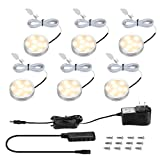 LE LED Puck Lights, Kitchen Under Cabinet Lighting Kit, 510 Lumens, 3000K Warm White, Night Light, Perfect for Kitchen, Closet, Stairs and More, All Accessories Included, Pack of 6