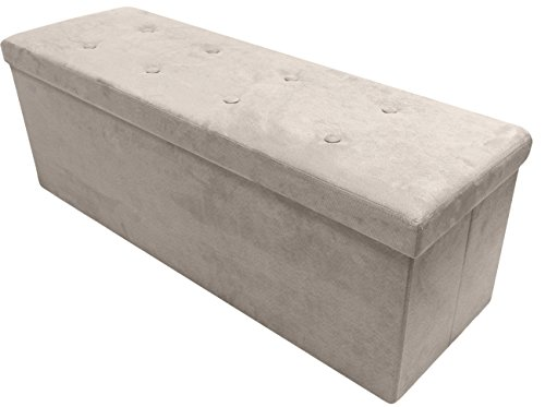 Sorbus Storage Ottoman Bench – Collapsible/Folding Bench Chest with Cover – Perfect Toy and Shoe Chest, Hope Chest, Pouffe Ottoman, Seat, Foot Rest, – Contemporary Faux Suede (Large-Bench, Beige)