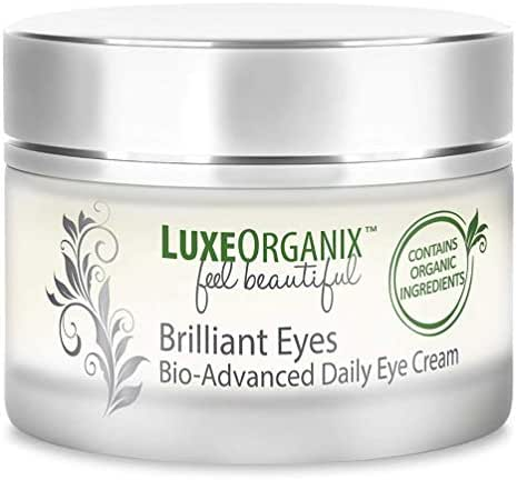 LuxeOrganix Natural Under Eye Cream for Dark Circles and Puffiness: Eye Brightening Cream for Dark Circles Under Eye Treatment Organic. Best Under Eye Cream for Wrinkles Made in USA (1 oz)