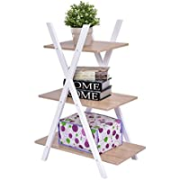 3 Tier Bookshelf A Ladder Shelves X Storage Bookcase Display Home Office