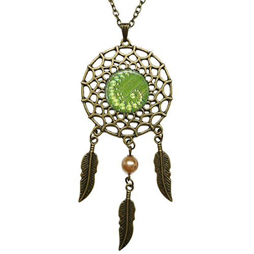 - Dream Catcher Necklace Crop Circle Aliens, Ufo'S, Geometric Jewelry Glass Pendant Bronze Long Chain Dangling Feather Charms Jewelry for Women