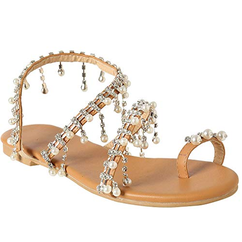 Lightweight Flat Sandals for Women July Deals Cross Toe Ring Bohemia Summer Sandals with Pearls Crystal