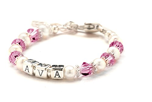 Lily Brooke Children's Crystal & Cultured Freshwater Pearl Name Bracelet - October Pink Birth Month (Size 5.5
