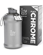 The Gym Keg Oficjalna sportowa butelka na wodę (2,2 l) izolowany rękaw | Wbudowany uchwyt do noszenia | fitness, ćwiczenia, duże butelki na wodę na siłownię | Ekologiczne, nie zawiera BPA, 40% grubsze tworzywo sztuczne (chrom refleks)