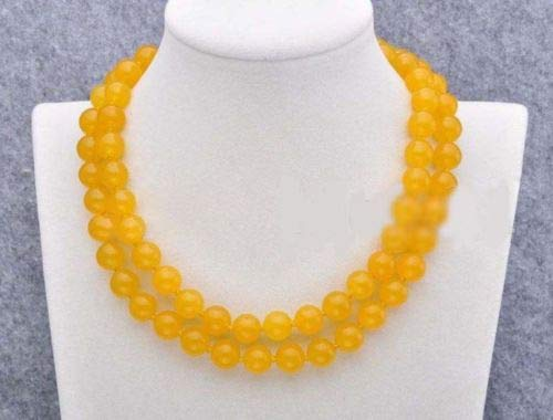 FidgetFidget Women's 8/10/12mm Natural Jade Gemstone Round Beads Long Necklace 36-50'' 10mm 36'' Yellow Jade